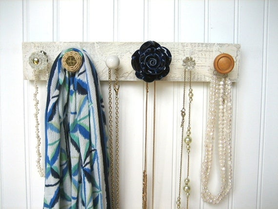 Jewelry Organizer / Necklace Holder with a Navy Flower Knob / Wall Hooks / Storage and Organization / Back to School