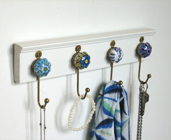 Wall Hooks / Key Rack / Necklace Hanger with 4 Ceramic and Metal Hooks