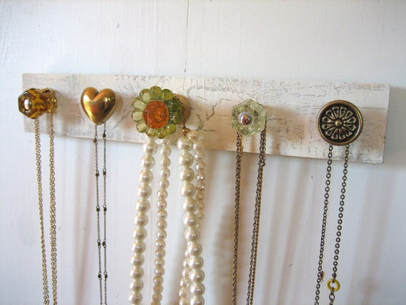 Hanging Jewelry Rack / Necklace Organizer with a Bold Flower