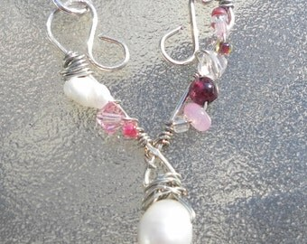Pink Heart Necklace Shabby Romantic Love Crystal Sterling Necklace Choker