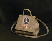 "leather  french vintage couture handbag  "" Marie Antoinette"" unique piece art bag retro bag steampunk bag french touch"