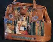 "Leather french vintage couture   handbag "" LUDWIG""   unique piece retro chic  art bag   steampunk bag french touch"