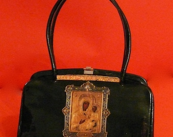 "vintage  handbag 1920- 30's black leather  "" Moscou""   evening french  vintage bag"