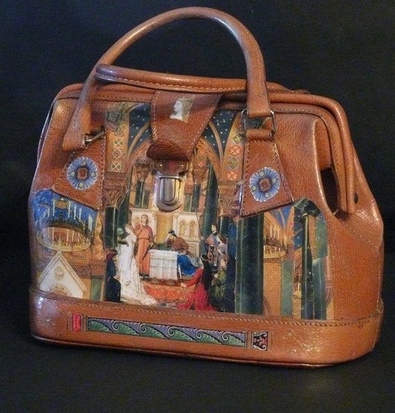 """Leather french vintage couture   handbag """" LUDWIG""""   unique piece retro chic  art bag   steampunk bag french touch"""