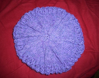 Purple knit hat or beret