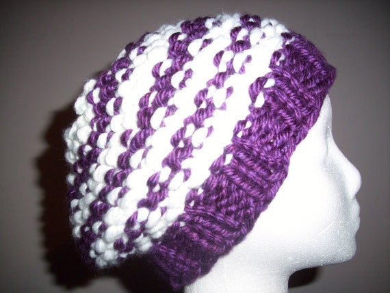 Purple and White winter hat