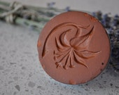 Cookie Press or decorative stamp terra cotta & turquoise flower design