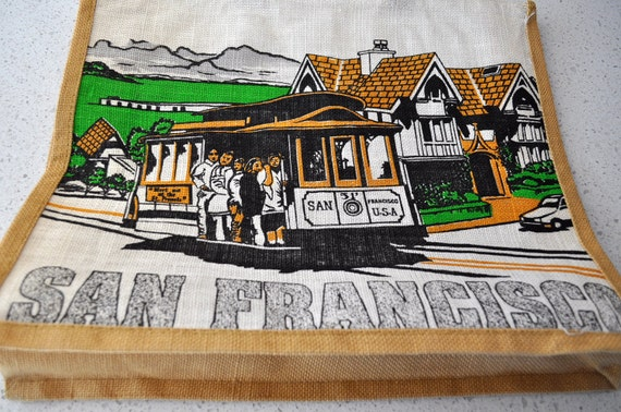 San Francisco Tote Bag Burlap 1970's Trolley Car Souvenir