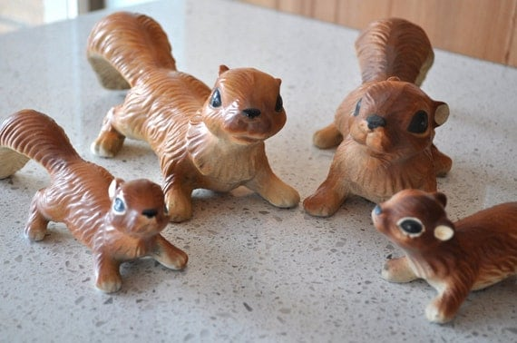 Squirrel Family set of 4 decorative ceramics for outdoors or inside