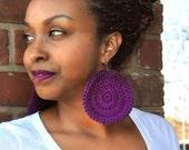 Crochet Earrings - Large Round Crochet Earrings - Giant Colorful Earrings - Purple - PATSY