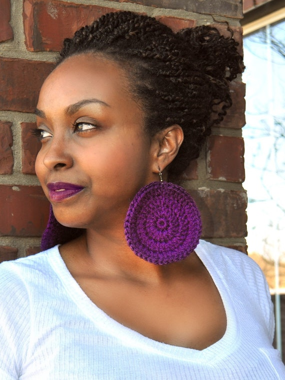 Crochet Earrings - Large Round Crochet Earrings - Giant Colorful Earrings - Purple - PATSY