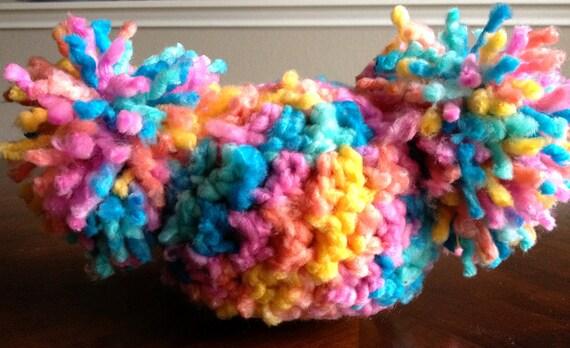 Crochet Baby Hat -Pom Pom Hat - Baby Afro Puff Hat - Newborn Baby Hat