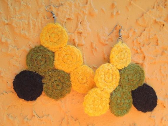 Crochet Earrings - Large Earrings - Black, Yellow, Green -  AMAKA