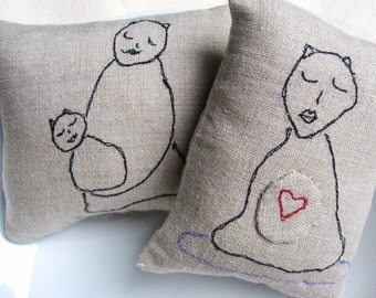 Linen Pillows - Small Pillows -yoga cat with heart, mommy cat and baby cat