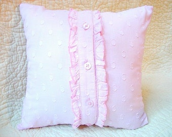 Pink Pillow Cover- Dorm Room Pillow with Ruffle- Insert Included
