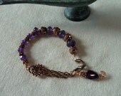 Beaded Bracelet - Amethyst and fire - amethyst with ornate antiqued copper beads