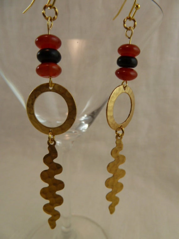 Dangle Earrings - Minoa - hammered brass with carnelian and jet