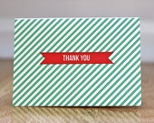 Candy Stripe Thank You Cards - Set of 25 Note Cards