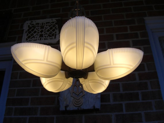 Vintage Antique Lighting Art Deco Five Light Slipper Shade Chandelier.