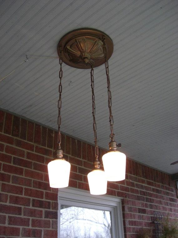 Lighting Victorian 1910 Antique Light Fixture Chandelier