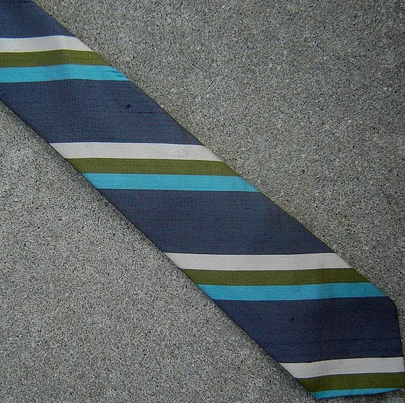 circa 1960 silk shantung skinny tie striped tie cool ocean colors
