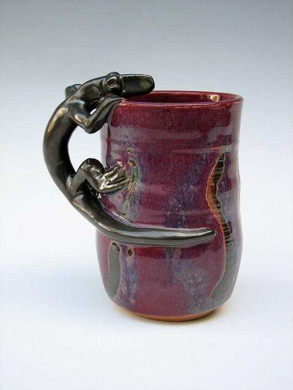 Cranberry Gun Metal  Lizard (Salamander, Anole) Mug has Green Grass, Brown Grass and Gun Metal Grass