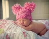 Pink Puffy chunky pom-pom hat for baby - Newborn Hat - photo prop - knitbysarah - stitches by sarah