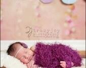 Rhubarb Fur-Ball Stretch Wrap / Blanket - newborn and infant Photo Prop - knitbysarah - stitches by sarah