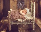 Photo Prop Set for Baby- Stretch Wrap / Blanket and Halo set for Newborn and Infant Photography - MAHOGANY - knitbysarah - stitchesbysarah