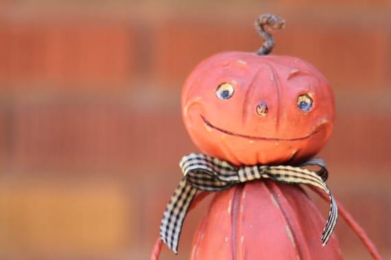 Halloween Pumpkin Folk Art Jack-O-Lantern Decoration
