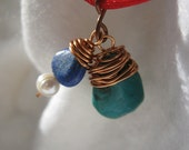 Choker on Red Cord  with Turquoise and Lapis