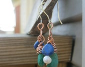 RESERVED Turquoise with lapis and pearl earrings
