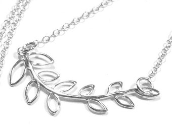 Sterling Silver Branch Necklace, Leaf Necklace, Tree Branch Necklace, leaves, fashion, leafy, 925, minimal