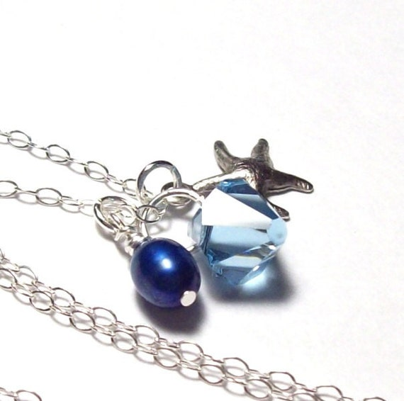 Aqua Necklace, Silver Starfish Necklace, sterling silver, tropical necklace, aquamarine, freshwater pearl, spring fashion, mothers day