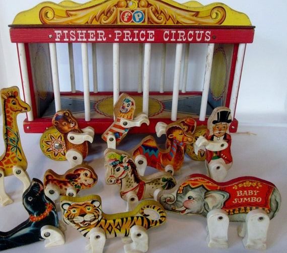 SALE 25% OFF, Vintage Fisher Price Wooden Circus Wagon 900 with Animals and Accessories, 1960s