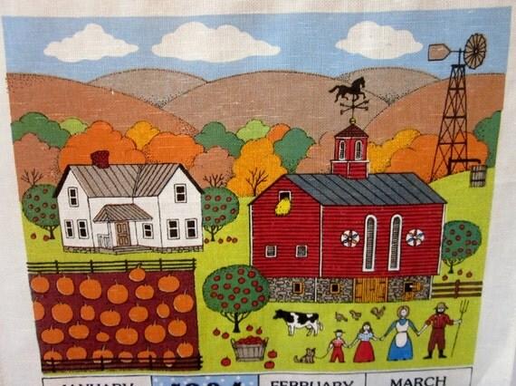 Vintage 1984 Linen Calendar Towel....Folk Art Print