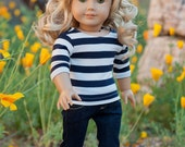 Doll Clothes: 3/4 Sleeve Sriped Tee for an American Girl Doll or other 18 Inch Dolls