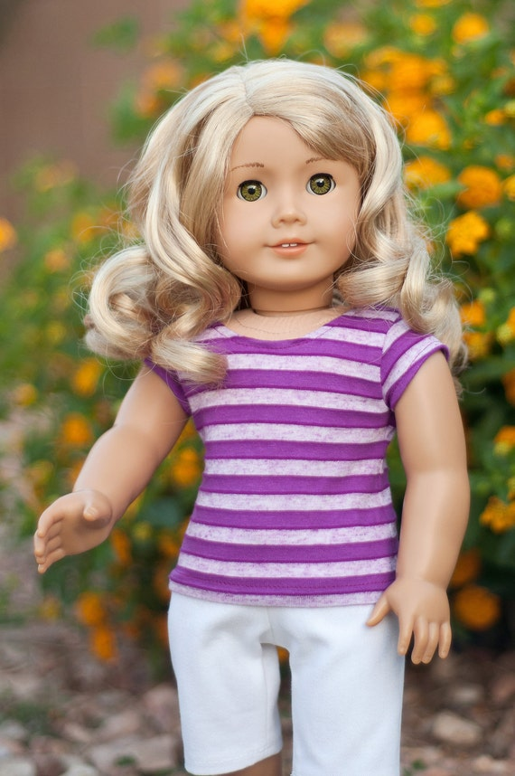 Doll Clothes: Purple Striped Trendy Tee for an American Girl Doll, or other 18 Inch Dolls