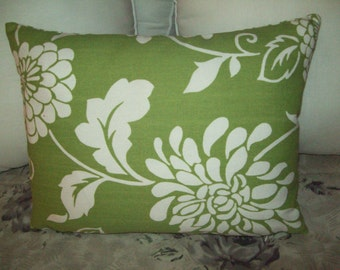 Bright Green with White flowers Cotton Pillow