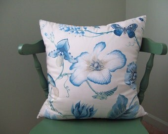 Turquoise Flowers and Insects on White Cotton Designer Duralee Fabric Pillow