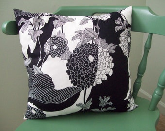 Black and White Flowered Cotton Pillow