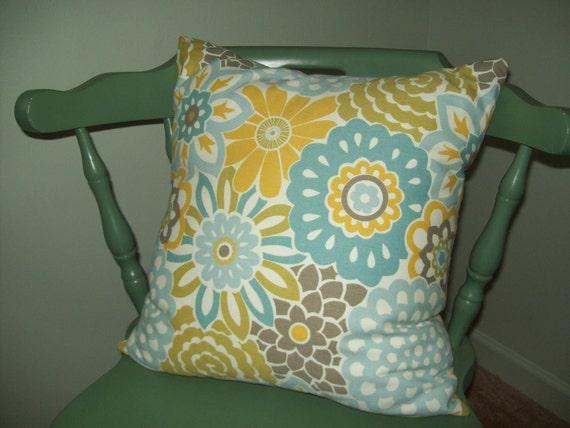 Yellow Turquoise White Tan Flowers Waverly Cotton Pillow