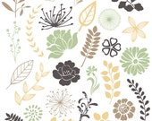 Leaves and Floral Clip Art - Scrapbooking Cards Commercial Use -  28 Images - PNG File - floralset 3