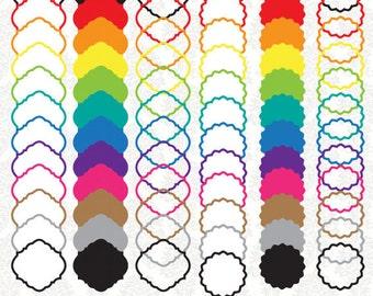 72 Digital Colored Label Frames Borders - Commercial Use -  72 Pieces - PNG File - labelset001
