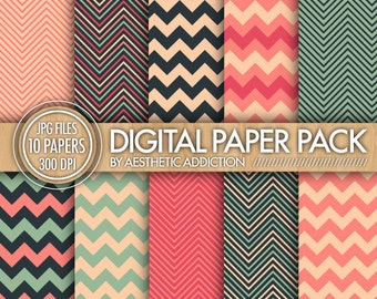 Chevron Digital Paper Pack // Pink and Blue // Commercial Use // A11