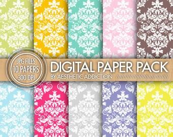 Colorful Damask Digital Paper // Blue Pink Green Orange Brown // Commercial Use // ten13