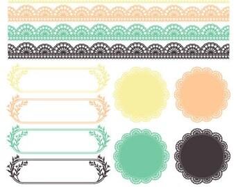 Clip Art Set - Beige Pink Green Gray - 12 Digital Frames/Labels - 8 Border Edges - Commercial Use - clipartset7