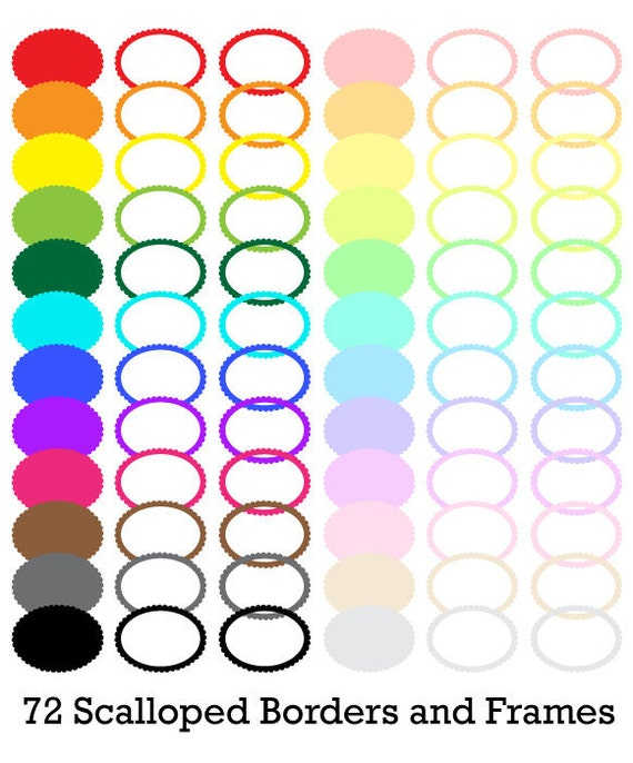 72 Oval Scalloped Digital Colored Label Frames Borders - Commercial Use - Png Files - LABELSET013