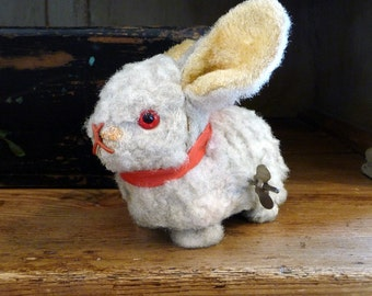 Vintage Toy Bunny German Rabbit Mechanical Germany Wind Up Toy Easter Decor