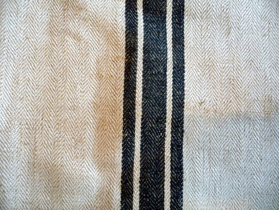 Vintage Grain Sack Feed Sack 1930s// German Hand made Linen Hemp// Primitive Rustic Textile// Upcycle Repurpose